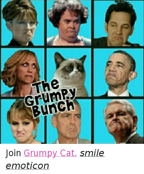 Cat Smiling: 13  THe  GrumPy  Bunch Join Grumpy Cat. smile emoticon