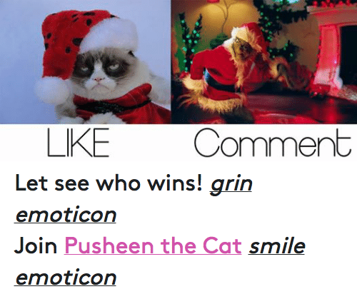 Cat Smiling: LIKE  Comment Let see who wins! grin emoticon  Join Pusheen the Cat smile emoticon
