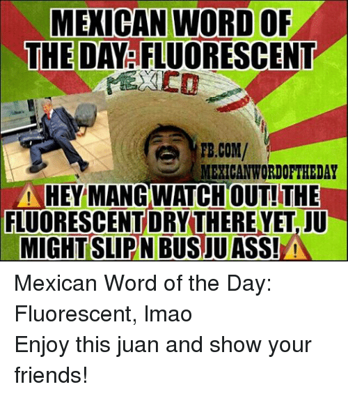 Mexican Wordoftheday: MEXICAN WORD OF  THE DAY FLUORESCENT  FB.COM/  MEXICAN WORDOFTHEDAY  HEY MANG WATCH OUT! THE  FLUORESCENTORYTHEREYETaJU  MIGHT SLIPNBUSJU ASS!  A Mexican Word of the Day: Fluorescent, lmao  Enjoy this juan and show your friends!