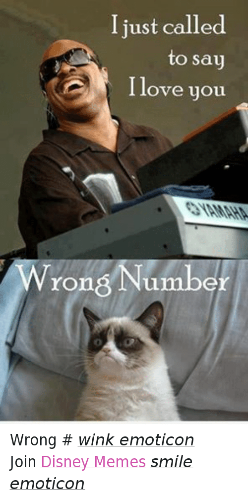 Meme Smile: I just called  to say  I love you  Wrong Number Wrong # wink emoticon Join Disney Memes smile emoticon