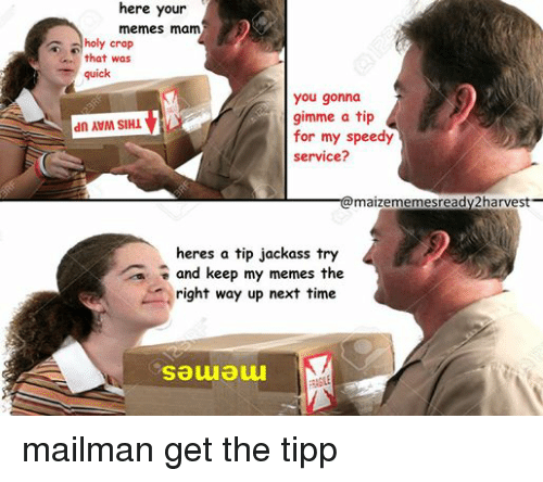 That Was Quick: here your  memes mam  holy crap  that was  quick  you gonna  gimme a tip  dn MVM SIHM  for my speedy  service?  @maizememesready2harvest-  heres a tip jackass try  a and keep my memes the  right way up next time  Sauauu mailman get the tipp