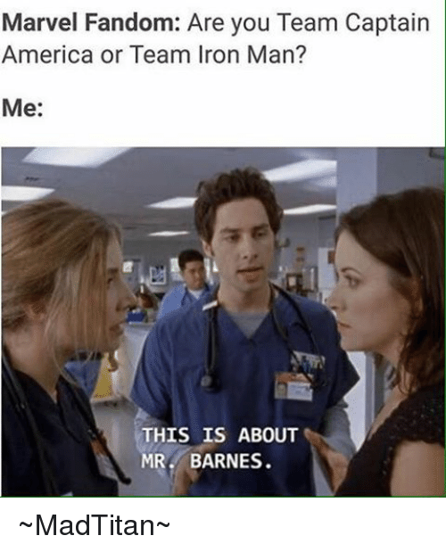 team captain america: Marvel Fandom: Are you Team Captain  America or Team Iron Man?  Me  THIS IS ABOUT  MR BARNES. ~MadTitan~