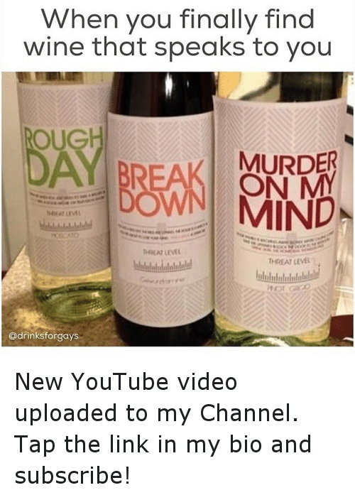 Oug: When you finally find  wine that speaks to you  OUG  MURDE  BREAK ON  NNI MIND  h4HAT LEVEL  MKAI LEVEL  THREAT LEVEL :  letledeledulelelelell  lulululululullll!  itor Go  @drinksforgays New YouTube video uploaded to my Channel. Tap the link in my bio and subscribe!