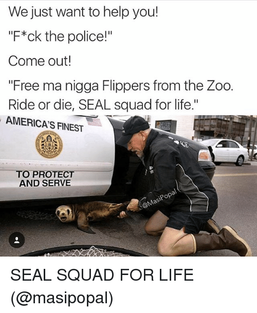 """Protect And Serve: We just want to help you!  """"F*ck the police!""""  Come out!  """"Free ma nigga Flippers from the Zoo.  Ride or die, SEAL squad for life.""""  AMERICAS FINEST  TO PROTECT  AND SERVE  pop SEAL SQUAD FOR LIFE (@masipopal)"""