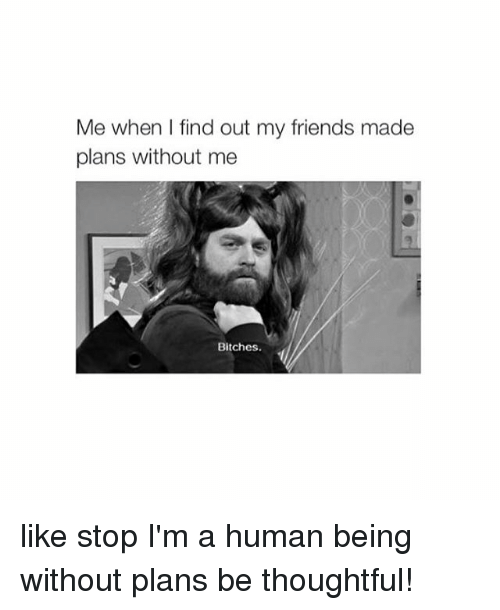 im a human being: Me when I find out my friends made  plans without me  Bitches. like stop I'm a human being without plans be thoughtful!