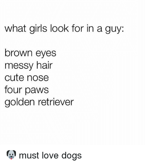 Cute, Dogs, and Girls: what girls look for in a guy  brown eyes  messy hair  cute nose  four paws  golden retriever 🐶 must love dogs