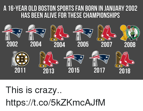 This Is Crazy: A 16-YEAR OLD BOSTON SPORTS FAN BORN IN JANUARY 2002  HAS BEEN ALIVE FOR THESE CHAMPIONSHIPS  2002 2004 2004 2005 2007 2008  2011  2013 2015 2017 2018 This is crazy.. https://t.co/5kZKmcAJfM