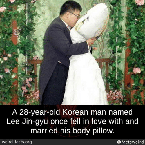 28 Year Old: A 28-year-old Korean man named  Lee Jin-gyu once fell in love with and  married his body pillow  weird-facts.org  @factsweird