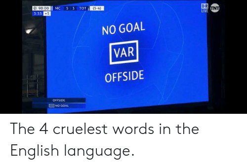 offside: a: 90.00  3:33 +5  (54)  NO GOAL  VAR  OFFSIDE  OFFSIDE  NO GOAL The 4 cruelest words in the English language.