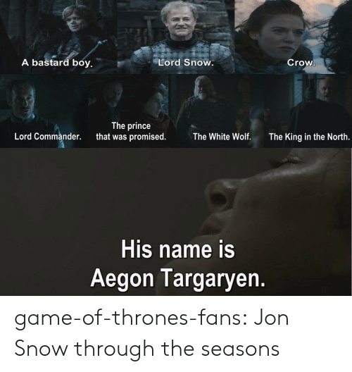 in-the-north: A bastard boy.  Lord Snow.  Crow  The prince  that was promised.  Lord Commander.  The White Wolf.  The King in the North.  His name is  Aegon Targaryen. game-of-thrones-fans:  Jon Snow through the seasons