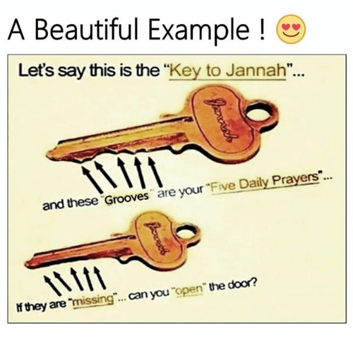 """Grooving: A Beautiful Example  Let's say this is the  """"Key to Jannah""""  and these Grooves  are your  Five Daily Prayers  door?  they are  missing can you  open the"""