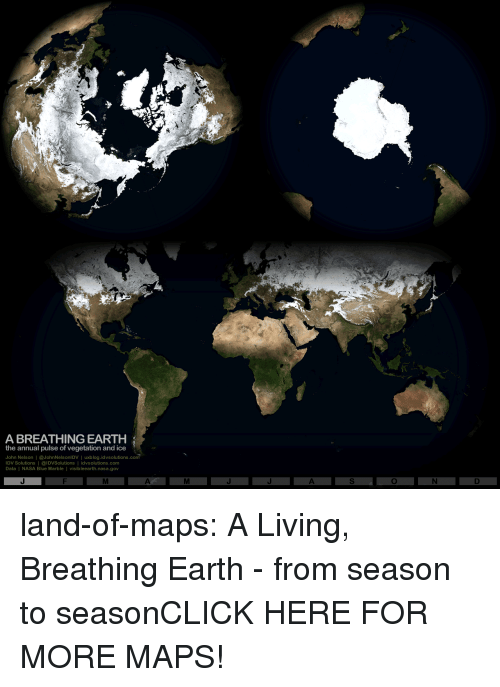 Click, Nasa, and Tumblr: A BREATHING EARTH  the annual pulse of vegetation and ice  John Nelson | @JohnNelsonlDV | uxblog.idvsolutions.com  IDV Solutions | @IDVSolutions | idvsolutions.com  Data | NASA Blue Marble I visibleearth.nasa.gov land-of-maps:  A Living, Breathing Earth - from season to seasonCLICK HERE FOR MORE MAPS!