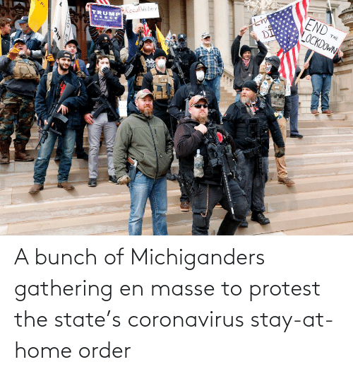 gathering: A bunch of Michiganders gathering en masse to protest the state's coronavirus stay-at-home order
