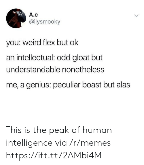 boast: A.c  @ilysmooky  you: weird flex but ok  an intellectual: odd gloat but  understandable nonetheless  me, a genius: peculiar boast but alas This is the peak of human intelligence via /r/memes https://ift.tt/2AMbi4M