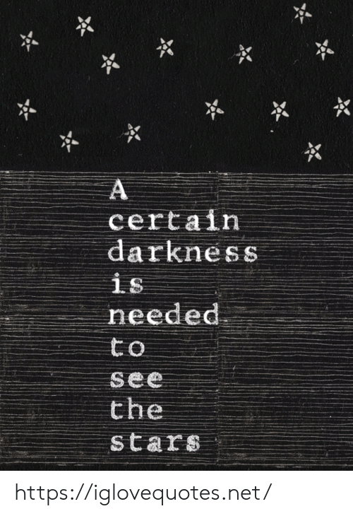 Stars, Net, and Darkness: A  certain  darkness  is  needed  to  see  the  stars https://iglovequotes.net/