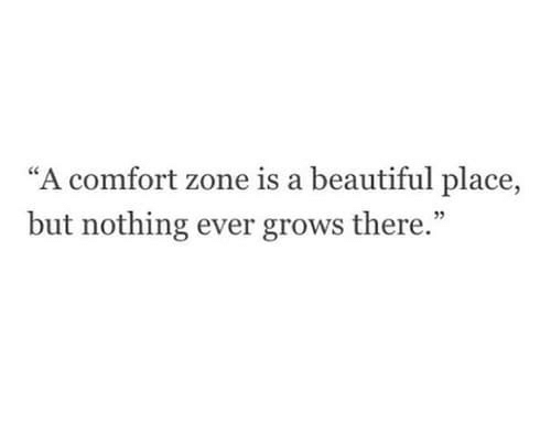"""A Beautiful Place: """"A comfort zone is a beautiful place,  but nothing ever grows there."""""""
