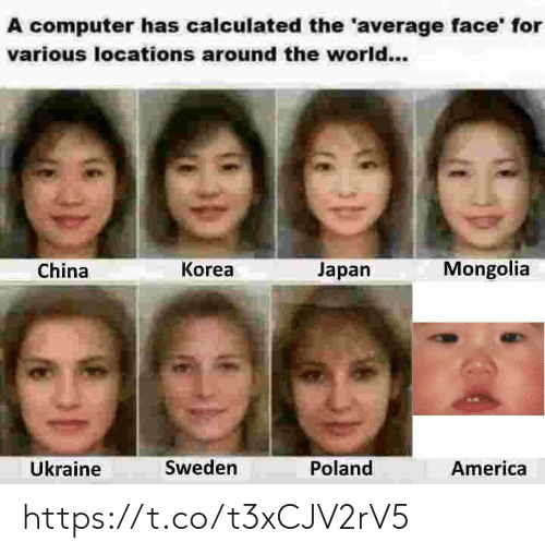 Ukraine: A computer has calculated the 'average face' for  various locations around the world...  Mongolia  Korea  Japan  China  Ükraine  Sweden  Poland  America https://t.co/t3xCJV2rV5