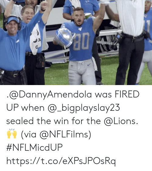 sealed: A .@DannyAmendola was FIRED UP when @_bigplayslay23 sealed the win for the @Lions. 🙌 (via @NFLFilms) #NFLMicdUP https://t.co/eXPsJPOsRq