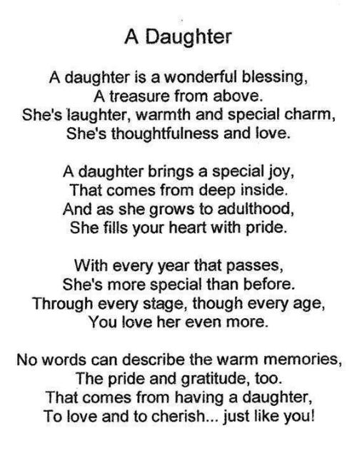 Love, Memes, and Heart: A Daughter A daughter is a wonderful blessing,