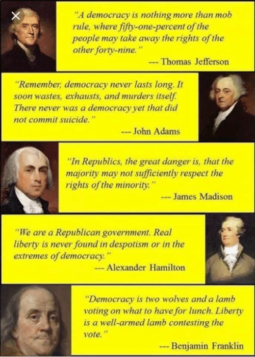 """despotism: """"A democracy is nothing more than mob  rule, where fifty-one-percent of the  people may take away the rights of the  other forty-nine.  -Thomas Jefferson  Remember, democracy never lasts long. It  soon wastes, exhausts, and murders itself.  There never was a democracy yet that did  not commit suicide.""""  - John Adams  """"In Republics, the great danger is, that the  majority may not sufficiently respect the  rights of the minority.""""  James Madison  """"We are a Republican goverทment. Real  liberty is never found in despotism or in the  extremes of democracy:""""  - Alexander Hamilton  """"Democracy is two wolves and a lamb  voting on what to have for lunch. Liberty  is a well-armed lamb contesting the  vote.""""  -Benjamin Franklin"""