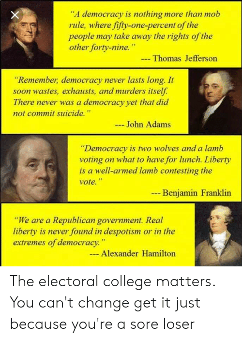 """despotism: """"A democracy is nothing more than mob  rule, where fifty-one-percent of the  people may take away the rights of the  other forty-nine.""""  Thomas Jefferson  """"Remember, democracy never lasts long. It  soon wastes, exhausts, and murders itself  There never was a democracy yet that did  not commit suicide.""""  John Adams  """"Democracy is two wolves and a lamb  voting on what to have for lunch. Liberty  is a well-armed lamb contesting the  vote.""""  9p  Benjamin Franklin  """"We are a Republican government. Real  liberty is never found in despotism or in the  extremes of democracy  . """"  Alexander Hamilton The electoral college matters. You can't change get it just because you're a sore loser"""