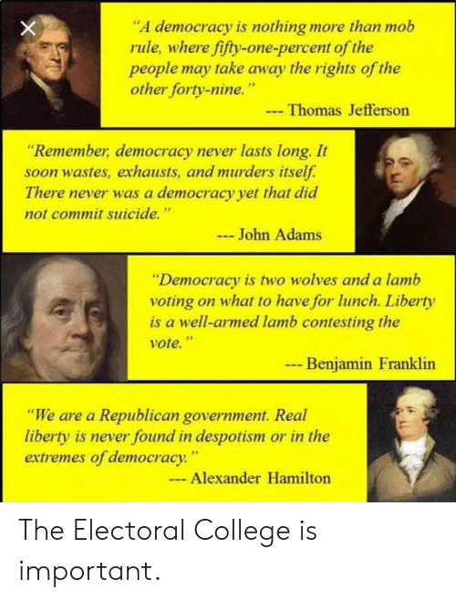 """despotism: """"A democracy is nothing more than mob  rule, where fifty-one-percent of the  people may take away the rights of the  other forty-nine.""""  Thomas Jefferson  """"Remember, democracy never lasts long. It  soon wastes, exhausts, and murders itself  There never was a democracy yet that did  not commit suicide.""""  John Adams  """"Democracy is two wolves and a lamb  voting on what to have for lunch. Liberty  is a well-armed lamb contesting the  vote.""""  9p  Benjamin Franklin  """"We are a Republican government. Real  liberty is never found in despotism or in the  extremes of democracy  . """"  Alexander Hamilton The Electoral College is important."""