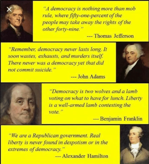 """despotism: """"A democracy is nothing more than mob  rule, where fifty-one-percent of the  people may take away the rights of the  other forty-nine.  Thomas Jefferson  """"Remember, democracy never lasts long. It  soon wastes, exhausts, and murders itself.  There never was a democracy yet that did  not commit suicide.""""  John Adams  """"Democracy is two wolves and a lamb  voting on what to have for lunch. Liberty  is a well-armed lamb contesting the  vote.""""  .- Benjamin Franklin  """"We are a Republican government. Real  liberty is never found in despotism or in the  extremes of democracy""""  Alexander Hamilton"""