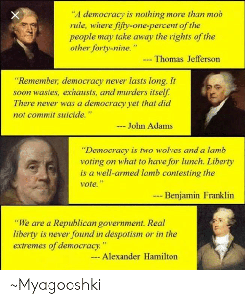 """despotism: """"A democracy is nothing more than mob  rule, where fifty-one-percent of the  people may take away the rights of the  other forty-nine.""""  Thomas Jefferson  """"Remember, democracy never lasts long. It  soon wastes, exhausts, and murders itself  There never was a democracy yet that did  not commit suicide.""""  John Adams  Democracy is two wolves and a lamb  voting on what to have for lunch. Liberty  is a well-armed lamb contesting the  Vote.""""  Benjamin Franklin  """"We are a Republican government. Real  liberty is never found in despotism or in the  extremes of democracy""""  Alexander Hamilton ~Myagooshki"""