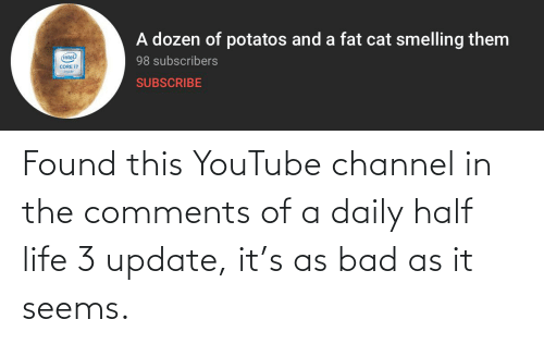 Bad, Life, and youtube.com: A dozen of potatos and a fat cat smelling them  (intel  98 subscribers  CORE 17  inside  SUBSCRIBE Found this YouTube channel in the comments of a daily half life 3 update, it's as bad as it seems.