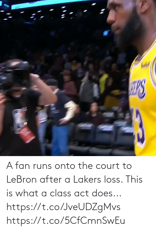 court: A fan runs onto the court to LeBron after a Lakers loss. This is what a class act does...  https://t.co/JveUDZgMvs https://t.co/5CfCmnSwEu