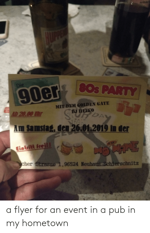 Pub: a flyer for an event in a pub in my hometown