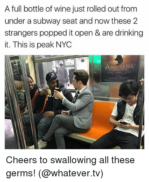 Drinking, Subway, and Wine: A full bottle of wine just rolled out from  under a subway seat and now these 2  strangers popped it open & are drinking  it. This is peak NYC  ANASTASIA Cheers to swallowing all these germs! (@whatever.tv)
