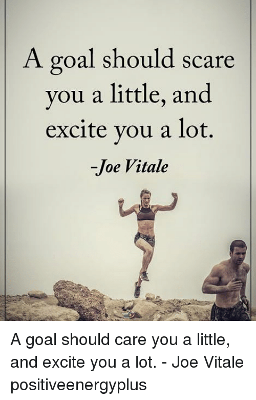 Excite: A goal should scare  you a little, and  excite vou a lot.  -Joe Vitale A goal should care you a little, and excite you a lot. - Joe Vitale positiveenergyplus