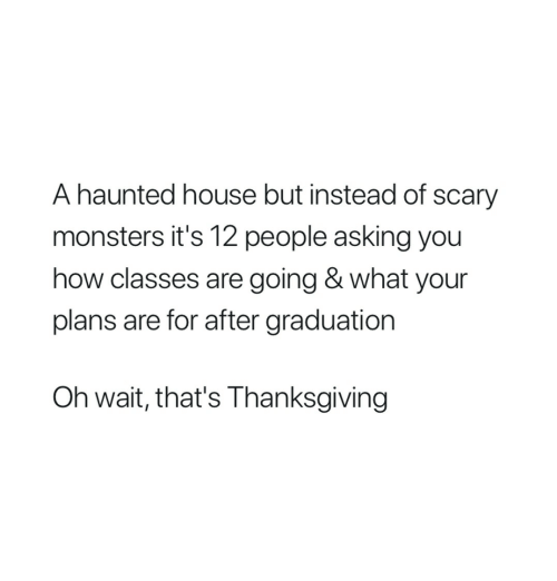 After Graduation: A haunted house but instead of scary  monsters it's 12 people asking you  how classes are going & what your  plans are for after graduation  Oh wait, that's Thanksgiving