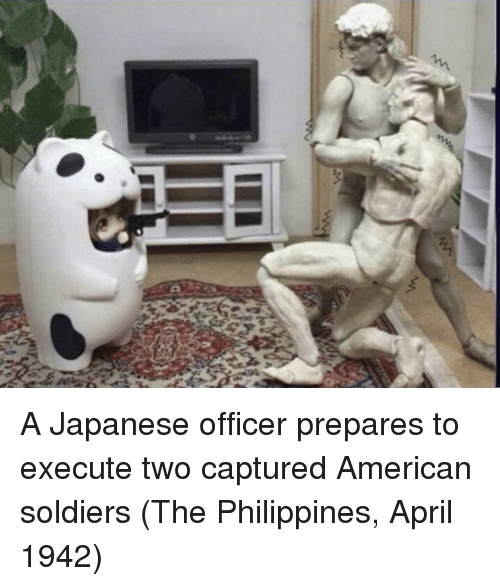 Soldiers, American, and Philippines: A Japanese officer prepares to execute two captured American soldiers (The Philippines, April 1942)