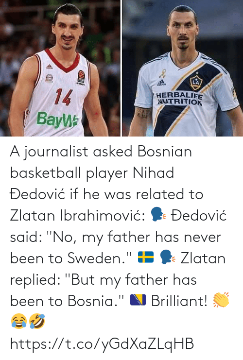 "If He: A journalist asked Bosnian basketball player Nihad Đedović if he was related to Zlatan Ibrahimović:   🗣 Đedović said: ""No, my father has never been to Sweden."" 🇸🇪  🗣 Zlatan replied: ""But my father has been to Bosnia."" 🇧🇦  Brilliant! 👏😂🤣 https://t.co/yGdXaZLqHB"