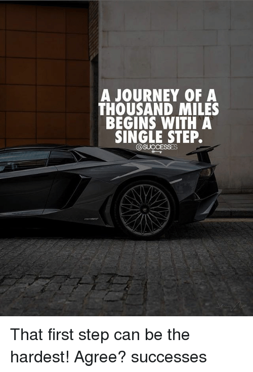 Journey, Memes, and Single: A JOURNEY OF A  THOUSAND MILES  BEGINS WITH A  SINGLE STEP.  OSUCCESSES That first step can be the hardest! Agree? successes