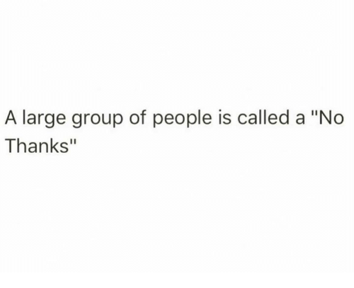 "group: A large group of people is called a ""No  Thanks"""
