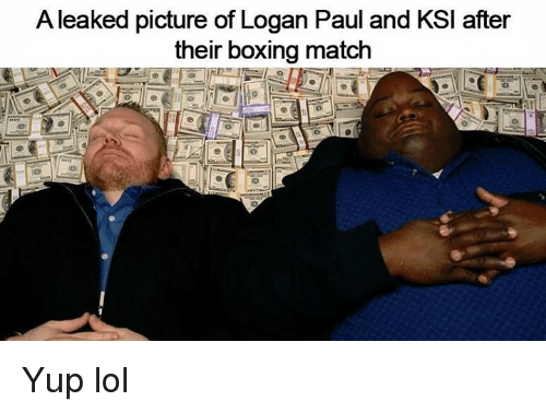 Boxing, Lol, and Match: A leaked picture of Logan Paul and KSl after  their boxing match Yup lol