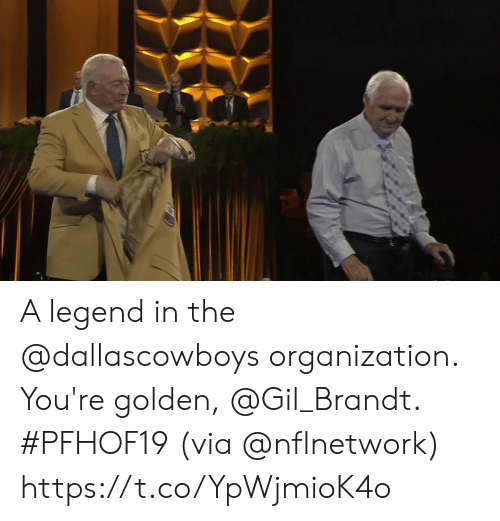 Memes, 🤖, and Legend: A legend in the @dallascowboys organization.  You're golden, @Gil_Brandt. #PFHOF19  (via @nflnetwork) https://t.co/YpWjmioK4o