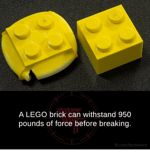 Withstanded: A LEGO brick can withstand 950  pounds of force before breaking.  fb.com/facts weird
