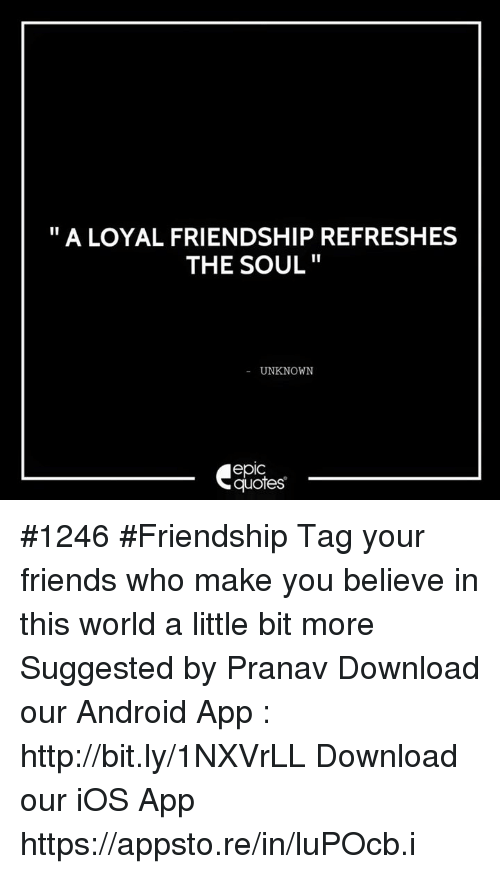 a loyal friendship refreshes the soul unknown epic quotes