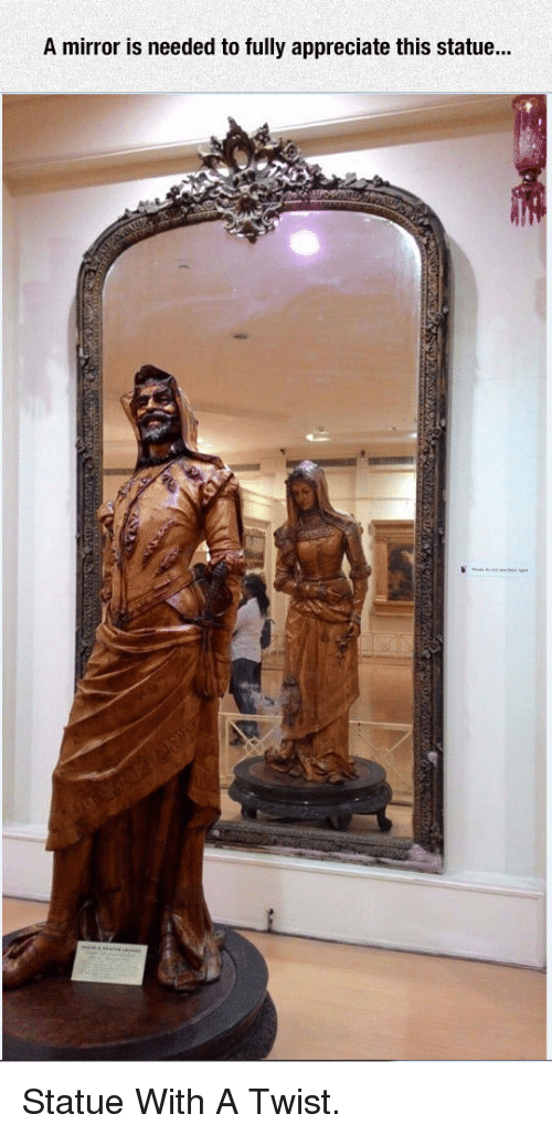 With A Twist: A mirror is needed to fully appreciate this statue... <p>Statue With A Twist.</p>
