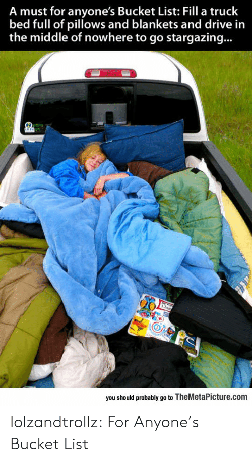 Bucket List, Tumblr, and Blog: A must for anyone's Bucket List: Fill a truck  bed full of pillows and blankets and drive in  the middle of nowhere to go stargazing...  you should probably go to TheMetaPicture.com lolzandtrollz:  For Anyone's Bucket List