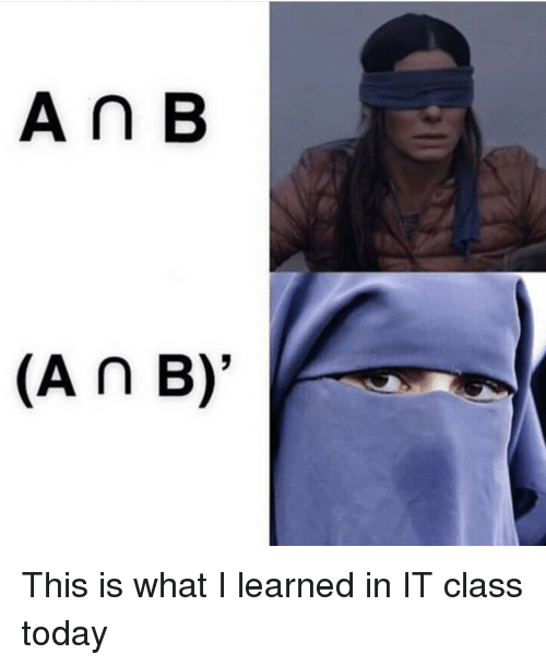 Today, Class, and What: A n B  (AnB)' This is what I learned in IT class today