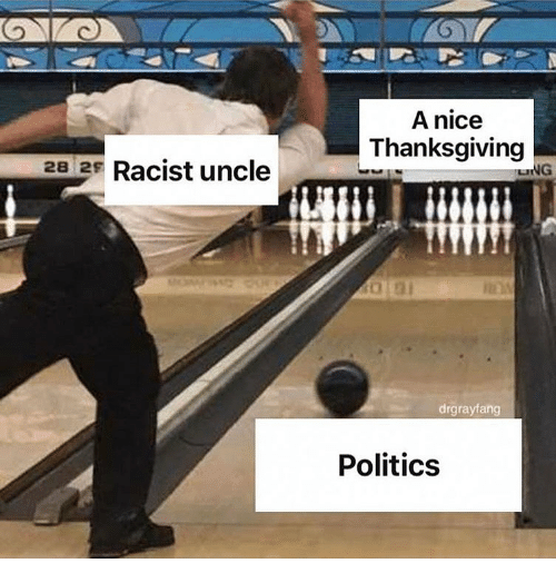 Memes, Politics, and Thanksgiving: A nice  Thanksgiving  28 2s Racist uncle  drgrayfang  Politics