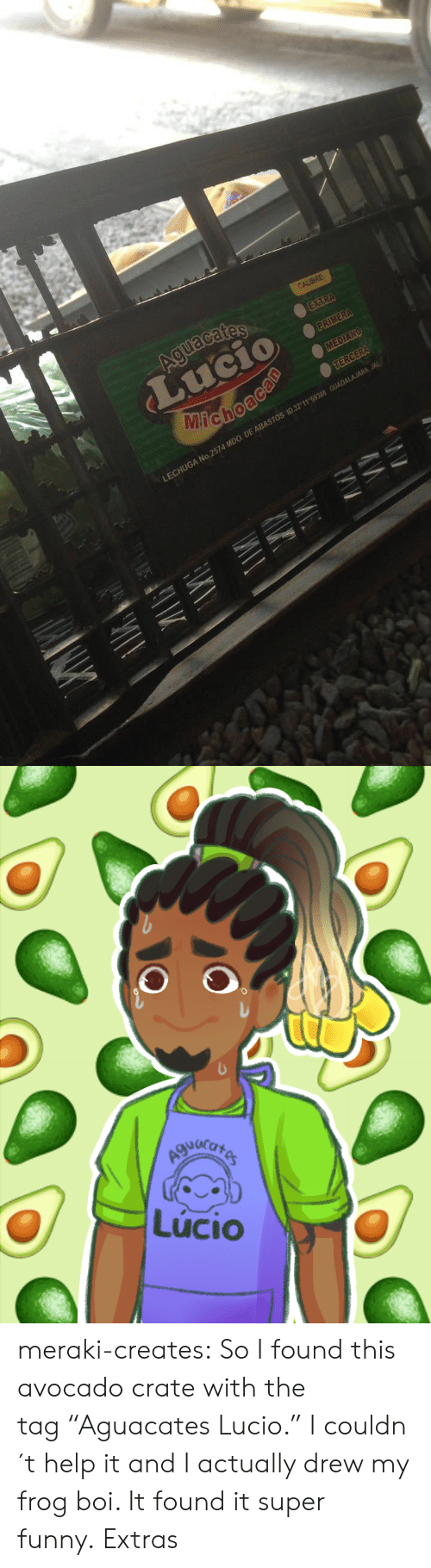 "Crate: A No 2574 MDO DE ABASTOS 10 32 11 59388   Lúcio meraki-creates:  So I found this avocado crate with the tag ""Aguacates Lucio."" I couldn´t help it and I actually drew my frog boi. It found it super funny. Extras"
