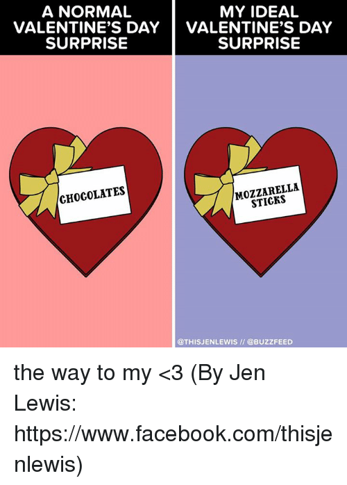 Lewy: A NORMAL  MY IDEAL  VALENTINE'S DAY  VALENTINE'S DAY  SURPRISE  SURPRISE  MOZZARELLA  CHOCOLATES  @THIS JENLEWIS @BUZZFEED the way to my <3 (By Jen Lewis: https://www.facebook.com/thisjenlewis)