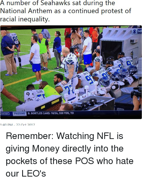 Money, Nfl, and Protest: A number of Seahawks sat during the  National Anthem as a continued protest of  racial inequality.  CLARM  FANTASY PASSING  B. BORTLES (JAX): 18/26, 330 YDS, TD  140 PM-22 Oct 2017