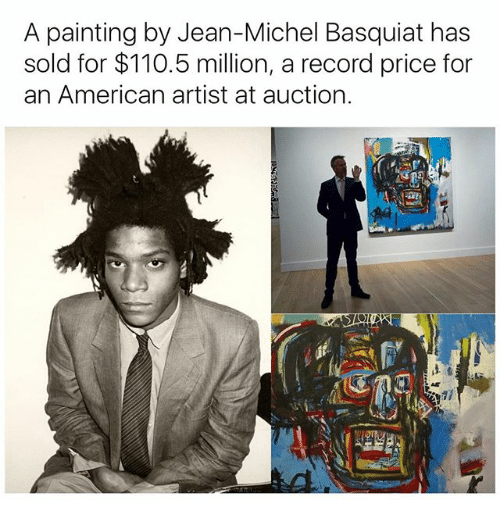 jean michel basquiat: A painting by Jean-Michel Basquiat has  sold for $110.5 million, a record price for  an American artist at auction.